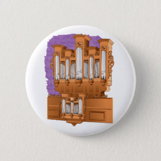 Pipe Organ, Church Organ Graphic Brown Pinback Button