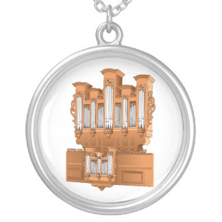 Pipe Organ, Church Organ Graphic Brown Silver Plated Necklace