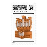 Pipe Organ, Church Organ Graphic Brown Stamp