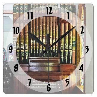 Pipe Organ In Church Square Wall Clock