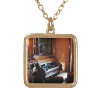 Pipe Organ in Living Room Gold Plated Necklace