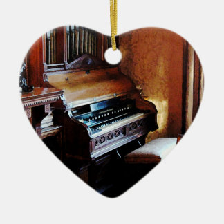 Pipe Organ  in Living Room Double-Sided Heart Ceramic Christmas Ornament