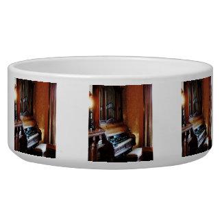 Pipe Organ in Living Room Dog Water Bowl