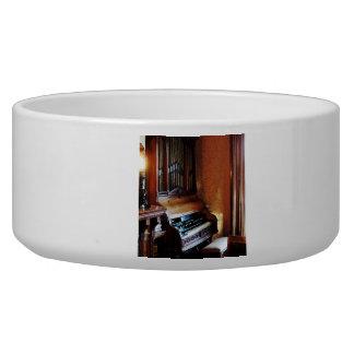 Pipe Organ in Living Room Dog Food Bowls
