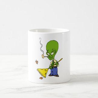 Pipe Smoking Alien Raking Leaves Classic White Coffee Mug