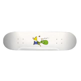 Pipe Smoking Alien Raking Leaves Skateboard Deck