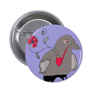 Pipe smoking crow pinback button