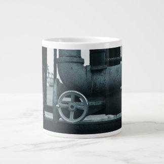 pipe wheel rusting metal blued steampunk giant coffee mug