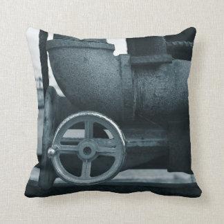 pipe wheel rusting metal blued steampunk pillow