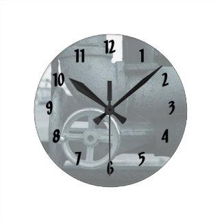 pipe wheel rusting metal blued steampunk round clock