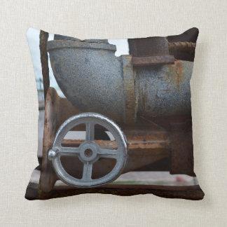 pipe wheel rusting metal steampunk throw pillow