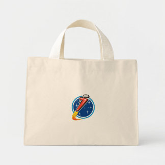 Pipe Wrench Rocket Blasting Off Orbit Space Circle Mini Tote Bag