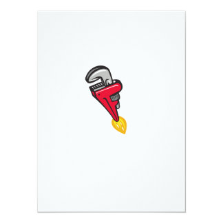 Pipe Wrench Rocket Booster Blasting Off Retro Card