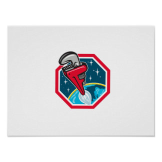 Pipe Wrench Rocket Booster Blasting Space Hexagon Poster