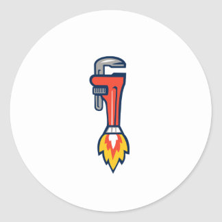 Pipe Wrench Rocket Booster Side Retro Classic Round Sticker