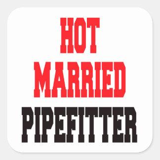 Pipefitter casado caliente pegatina cuadrada