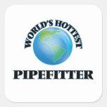 Pipefitter más caliente del mundo calcomanías cuadradass