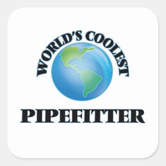 Pipefitter más fresco del mundo calcomanía cuadrada personalizada