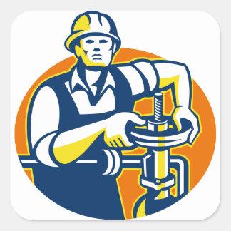 Pipefitter Oil Worker Tighten Pipe Valve Square Sticker