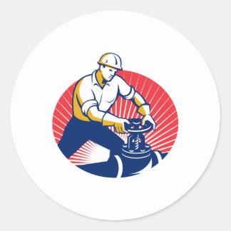 Pipefitter Turning Pipe Valve Retro Classic Round Sticker