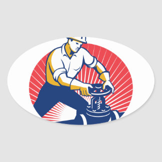 Pipefitter Turning Pipe Valve Retro Oval Sticker