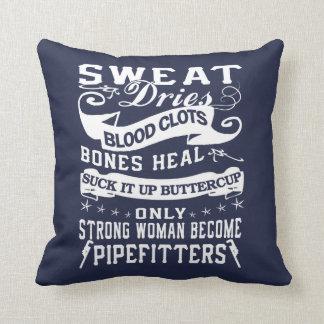 Pipefitter Woman Throw Pillow