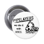 Pipelayer w/ girl sitting on pipe 2 inch round button