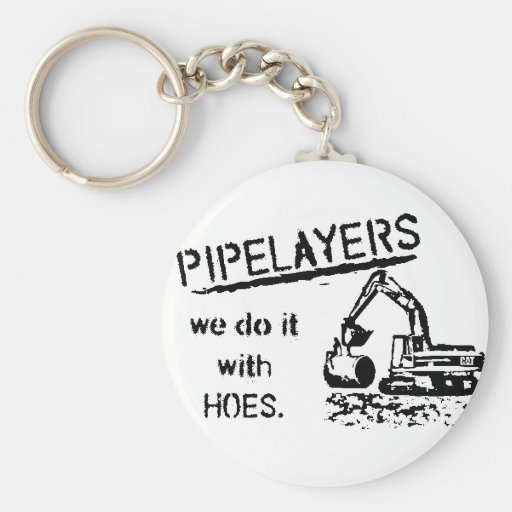 Pipelayer w/ girl sitting on pipe key chain
