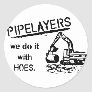Pipelayer w/ girl sitting on pipe classic round sticker