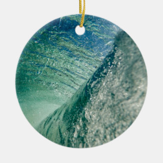 Pipeline Wave Double-Sided Ceramic Round Christmas Ornament