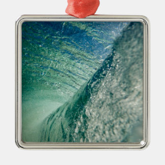 Pipeline Wave Square Metal Christmas Ornament