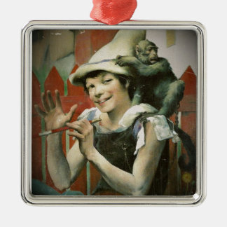 Piper and a Monkey Square Metal Christmas Ornament