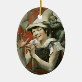 Piper and a Monkey Double-Sided Oval Ceramic Christmas Ornament