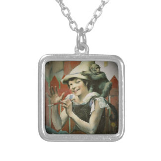 Piper and a Monkey Silver Plated Necklace