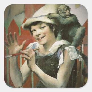 Piper and a Monkey Square Sticker
