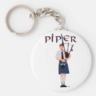 PIPER Blue Plaid Basic Round Button Keychain