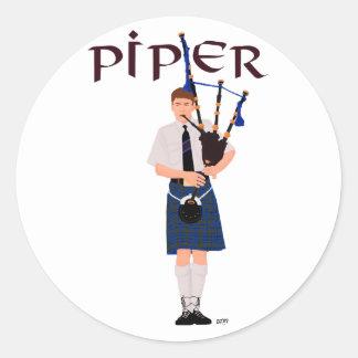 PIPER Blue Plaid Classic Round Sticker
