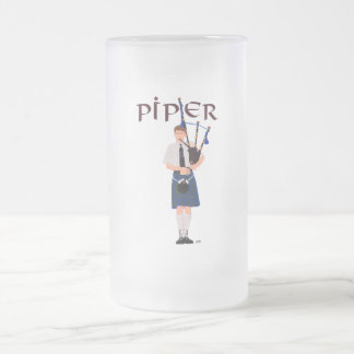 PIPER Blue Plaid Frosted Glass Beer Mug
