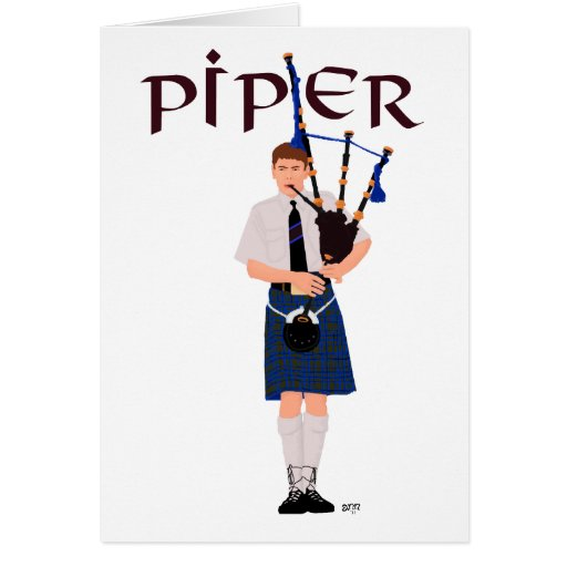 PIPER Blue Plaid Greeting Cards
