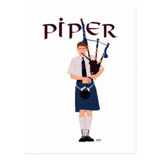 PIPER Blue Plaid Postcard