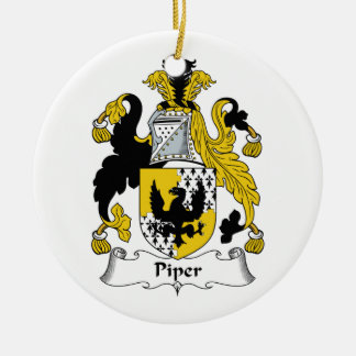 Piper Family Crest Double-Sided Ceramic Round Christmas Ornament