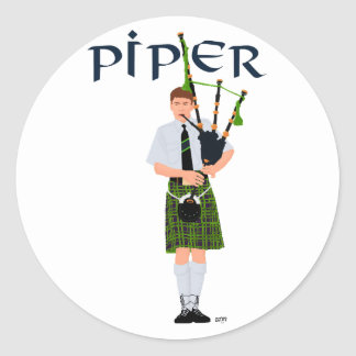 PIPER Green Plaid Classic Round Sticker