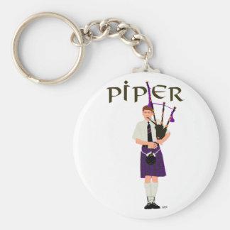 PIPER Purple Plaid Basic Round Button Keychain