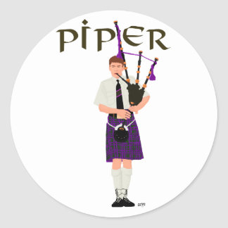 PIPER Purple Plaid Classic Round Sticker