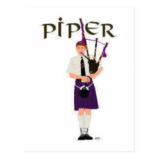 PIPER Purple Plaid Postcard