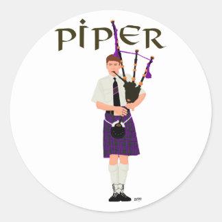 PIPER Purple Plaid Stickers