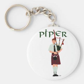 PIPER Red Plaid Basic Round Button Keychain
