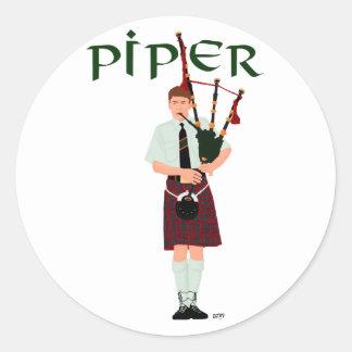 PIPER Red Plaid Classic Round Sticker