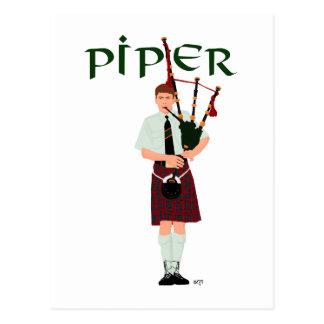 PIPER Red Plaid Postcard
