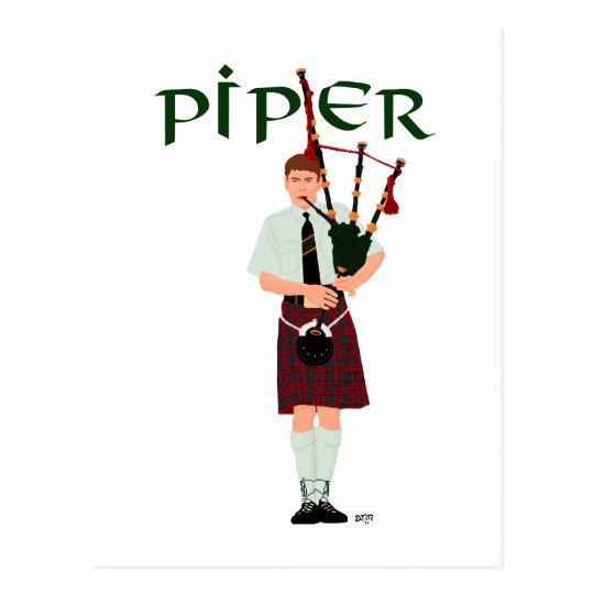 PIPER Red Plaid Postcard
